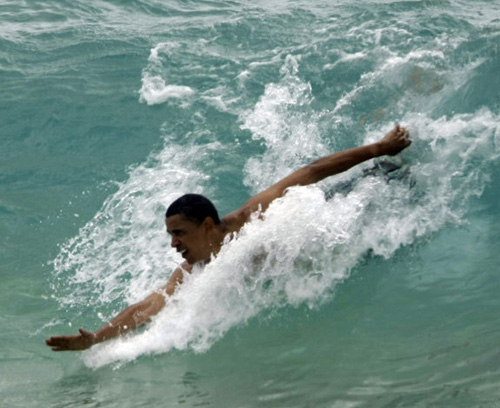 barack obama body surfing