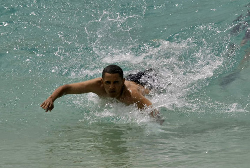 obama body surfing