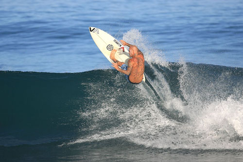 matt archbold on pyzel surfboard